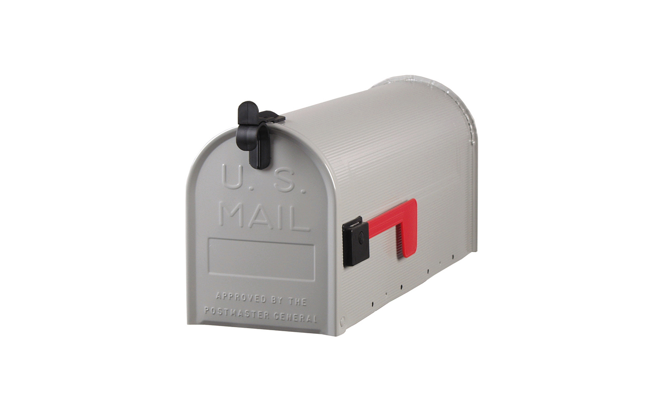 Gray Post Mount Mailbox - Traffic Safety Supply Company