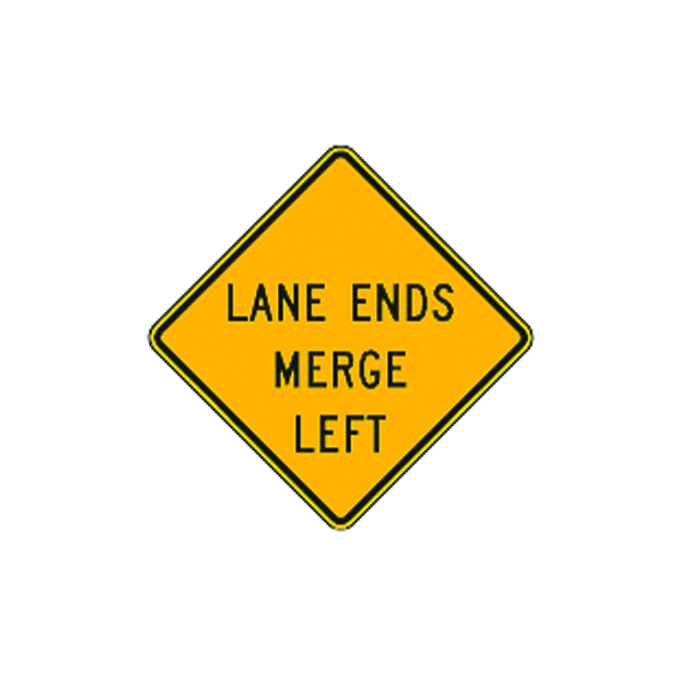 Lane Ends Merge Left Sign W9-2L